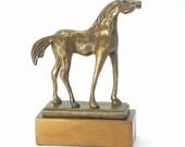 Bronze horse brown patina sculpture art wood base