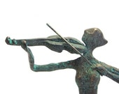 Violin player bronze sculpture verdigris patina musical art decor