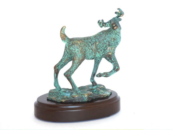 Whitetail deer hot cast bronze with verde green patina
