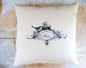 Paris Pillow, French Country Pillow, Bird Pillow, Paris, French Country Home, Cottage Decor, Home Decor, Decorative Pillow, Housewares