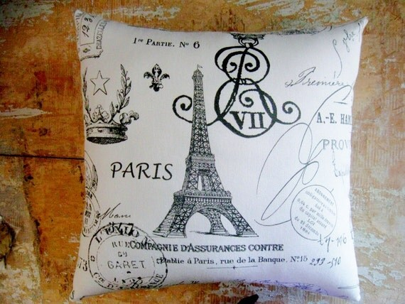 French Script, Paris Pillow, Eiffel Tower, French Country Home, Cottage Decor, French Decor, Home Decor, Decorative Pillow, Housewares