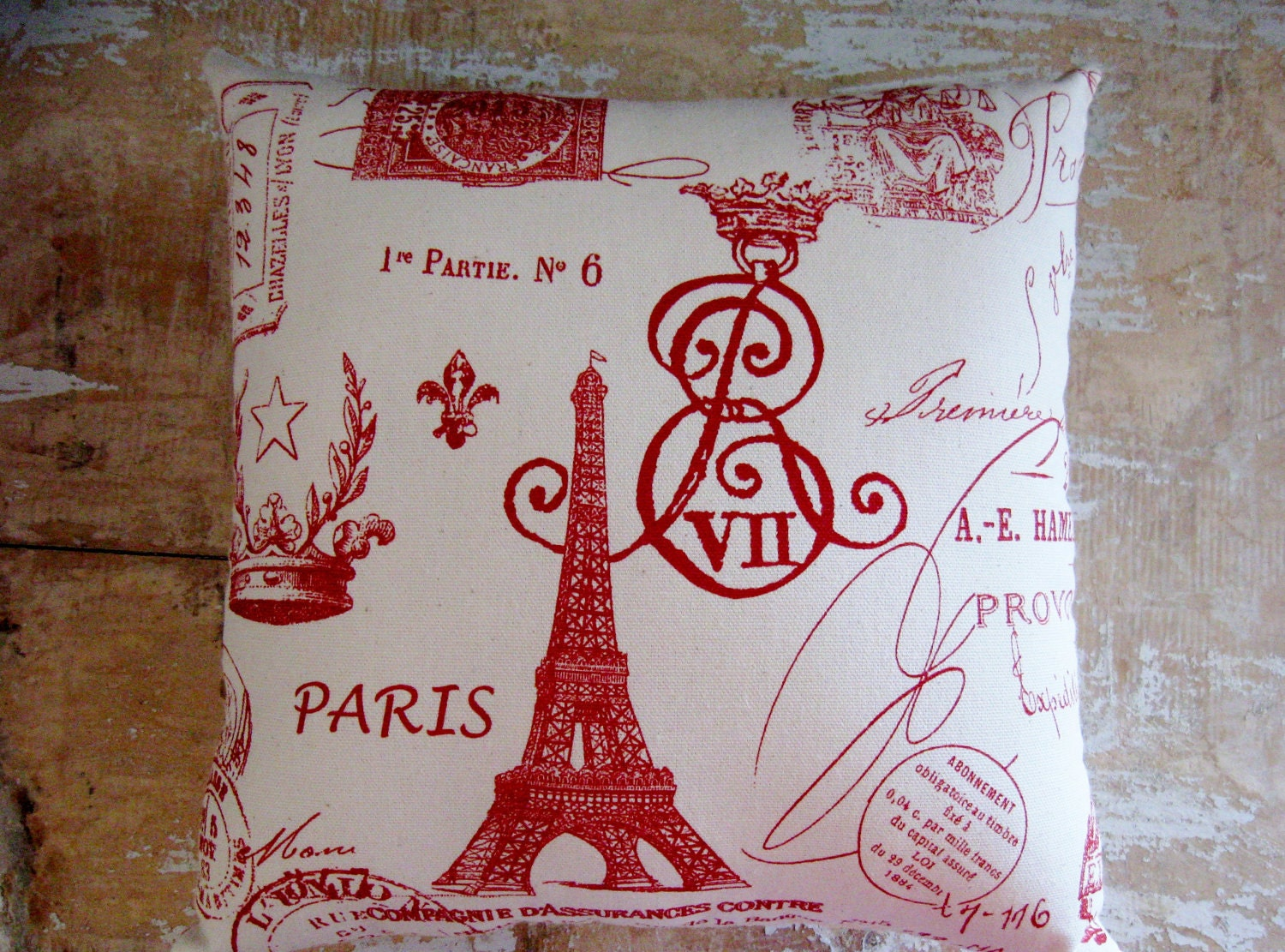 Red Paris Pillow Eiffel Tower French Country Home Cottage