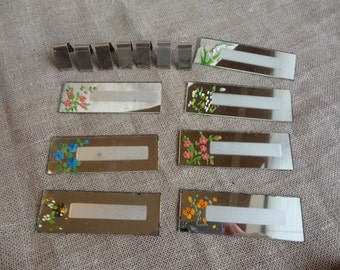 Vintage Mirror Placecards with Handpainted Floral Designs - Set of 7 Reusable