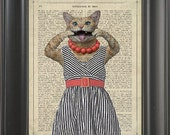 A cat with a dress  - Printed on love page  -  250Gram paper.