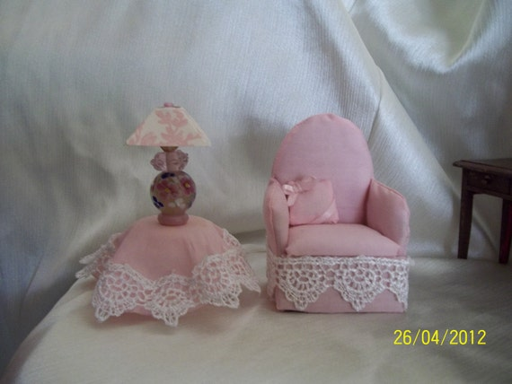 Price reduced Dollhouse Chair, Lamp and Table one inch scale