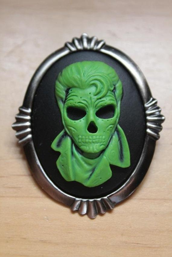 "Green On Black ""The King"" Elvis Skull Silhouette Cameo Brooch"