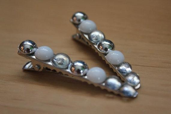 Silver, White & Clear Transparent Bead Hair Clips (Pair)
