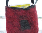 Felted bag Red & Grey- Great project bag