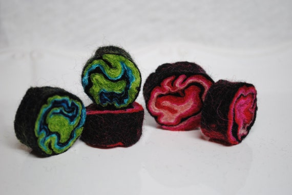5 Felted Beads- sea life and berries