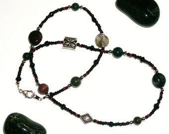 Ankle Wrap - Bloodstone and Antique Silver