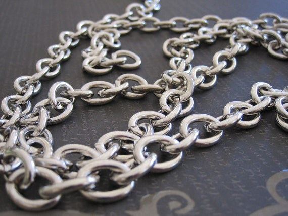 "Chunky Cable Chain Chunky Silver Cable Chain Heavy Gauge Siver Chain Edgy Chunky Silver Chain 15mm by 12mm  21"" Length by BySupply"