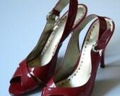 BCBG Red Patent Leather Sling Back peep toe heels