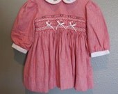 Vintage red gingham peter pan collared baby dress