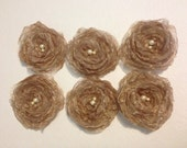 Taupe color organza flower snap clips - Set of 6