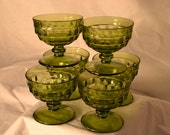 Vintage Green Fostoria Indiana Whitehall Sherbet Ice Cream Dessert Glass Bowl Pedestal - set of 6