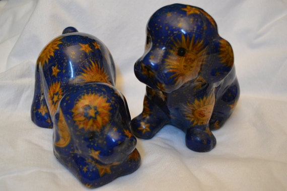 Vintage Decoupage Puppies - set of two - Sun - Stars