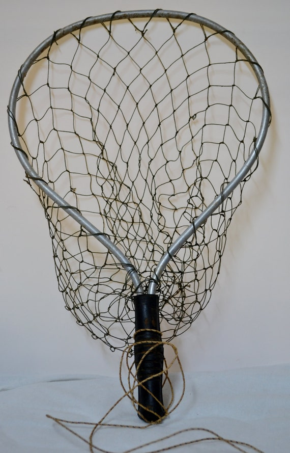 Vintage fishing net fly fishing nautical decor for Fly fishing decor