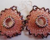 Bead enhanced wire crochet flower motif earrings - NIGHT FLOWER