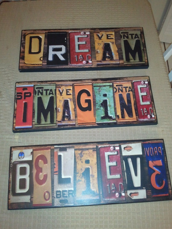 3 piece set of all wood cut up license plate wall art signs