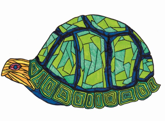 Turtle in it's Blue and Green Shell Blank Card 4x6