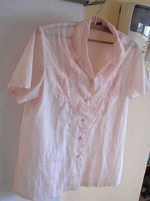 Reserved for Gloria FINAL SALE Vintage Women 100% Silk High Quality Blouse Short Sleeve Baby Pink Size 38