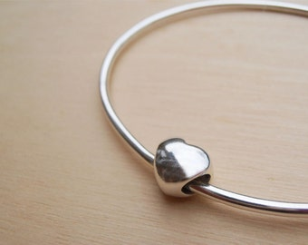 Silver Heart Bangle - Sterling Silver