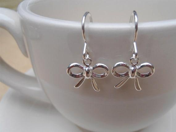Silver Bow Earrings - Sterling Silver