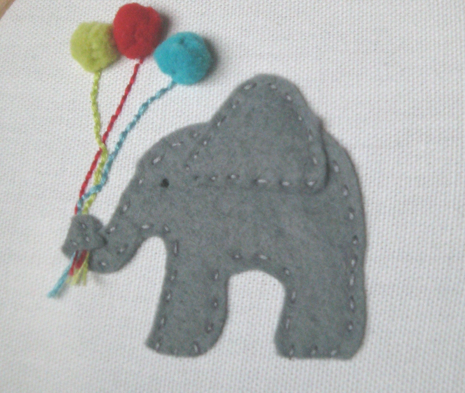 Embroidery hoop wall art new baby appliqued elephant