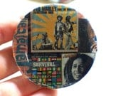 Handmade Collage Pinback Button 2 1/4 inch. Bob Marley & the Wailers Jamaican. Music Unique. One of a Kind OOAK Ready to Ship Eco Friendly