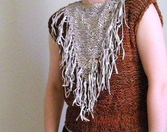 Vintage Leather Shirt Handmade. White Fringe, Redish Brown. Tassels Western, Southwestern, Boho, Hippie, Tribal, Punk, Cowgirl, Rodeo