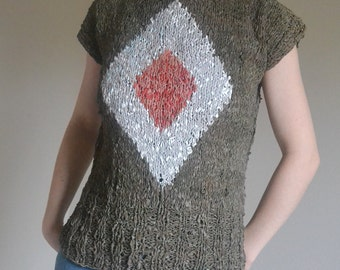 Vintage Tribal Leather Fashion Shirt. Unique. Handmade Boho Hippie Tribal Punk African Unique Red & White Tribal Style Diamond Pattern