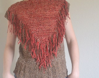 Handmade Vintage Leather Fashion Shirt. Red & Brown w/ Fringe Tassels. Western, Southwestern, Boho, Hippie, Tribal, Punk, Cowgirl, Rodeo