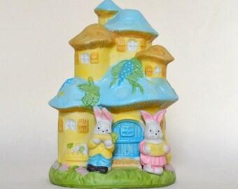 Mushroom Vintage Bunny Bank for Child's Room, Twins, Baby Nursery or cute decor. Bunnies living in a Mushroom House. Boy & Girl Rabbit. Gift