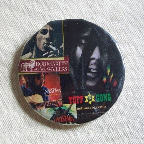 Bob Marley Button Handmade Collage Pinback 2 1/4 inch. the Wailers Tuff Gong. Music Pin Gift Unique OOAK Ready to Ship Eco Friendly