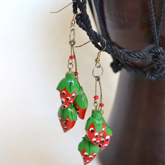 Vintage Wooden Strawberry Summer Earrings EarWire Hooks Dangle 1980s Retro Hand Painted Wood Strawberries. Kawaii. Red Picnic. Gift