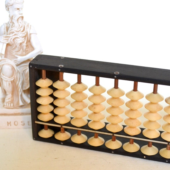 Vintage Abacus Bakelite Beads & Black Wood Frame Wooden Antique Style Calculator Adding Machine Math Home Decor Office