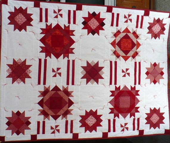 Christmas Stars, Red and White Lap Quilt