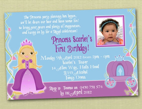 Princess Rapunzel Themed Birthday Invitations - You Print