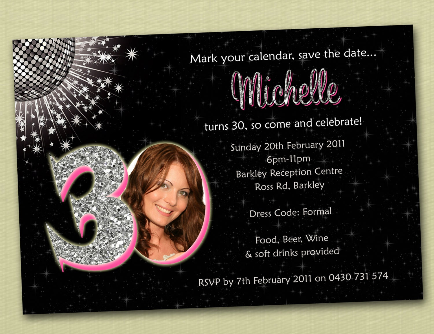 Personalised Bling Birthday Invitations 18th 21st 30th 40th – Free 18th Birthday Invitations