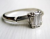 Vintage 14kt White Gold Emerald Cut Diamond Solitaire Ring VVS-1 E 0.35ct High Quality Diamond 10% OFFJune SALE