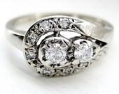 Vintage Art Nouveau Old European Cut OEC Round Brilliant Diamond Ring 14kt White Gold