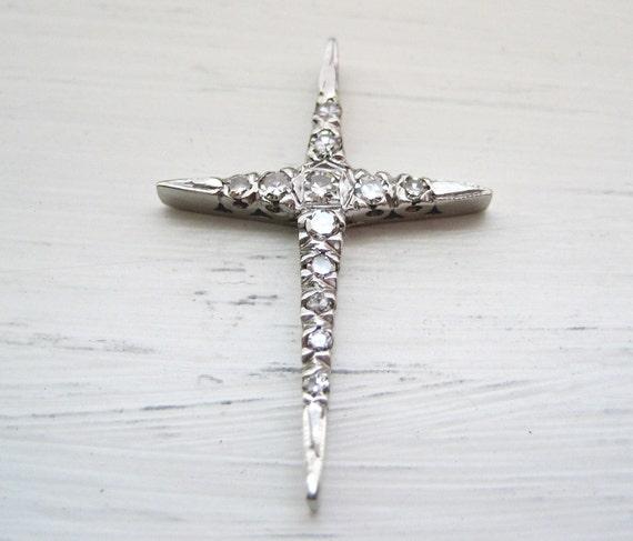 Vintage 1/4 Carat Diamond Cross Art Deco White Gold Pendant