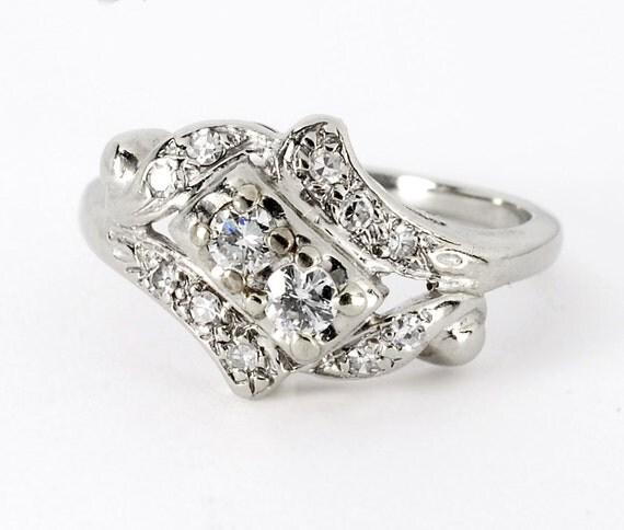 Vintage Art Nouveau Diamond Ring 1/2ct 14kt White Gold Wedding Band