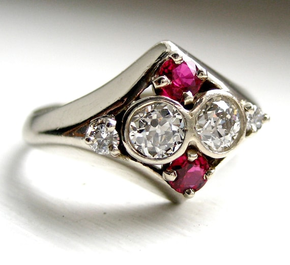 Vintage Art Deco Old European Cut OEC Diamond and Ruby Ring 14kt White Gold
