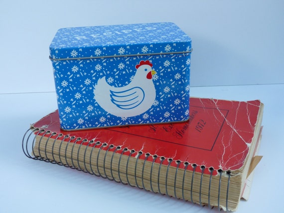 Vintage recipe card box - 60s chicken decor