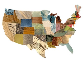 U.S. map contiguous, United States map, cut paper US map, collage US map, mixed media US map, print