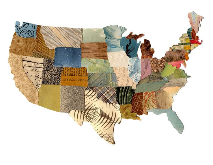 US Map Contiguous United States Map Cut Paper US Map - Us map collage