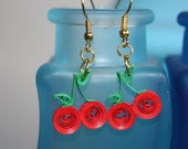 Cherry Quilling Paper Earrings