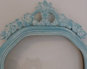 Vintage Frame Convex Glass with Scroll Design Aqua Shabby Chic