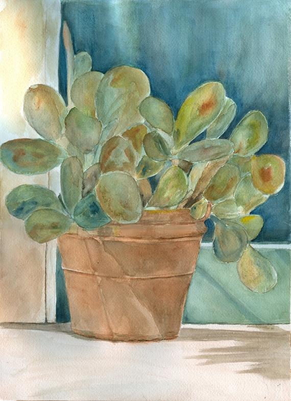 Framed Original Watercolor Painting Cactus Plant 15.5 x 18.5